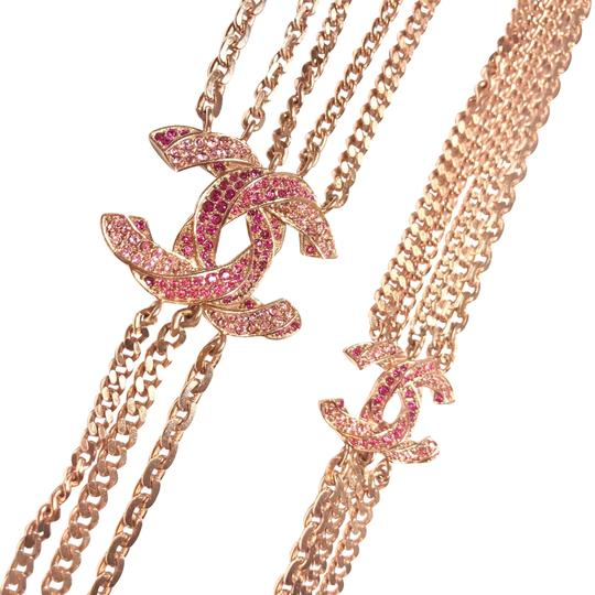 Chanel Rose Gold Chain Necklace/Belt with Pink Rhinestone CC Charms Image 2