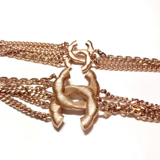 Chanel Rose Gold Chain Necklace/Belt with Pink Rhinestone CC Charms Image 4