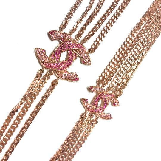 Chanel Rose Gold Chain Necklace/Belt with Pink Rhinestone CC Charms Image 8