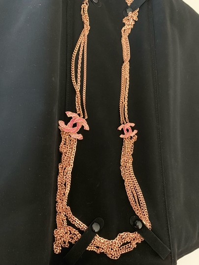 Chanel Rose Gold Chain Necklace/Belt with Pink Rhinestone CC Charms Image 9