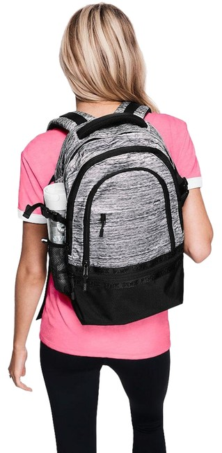 Item - New Pink Campus Laptop Book Black Gray Canvas Backpack