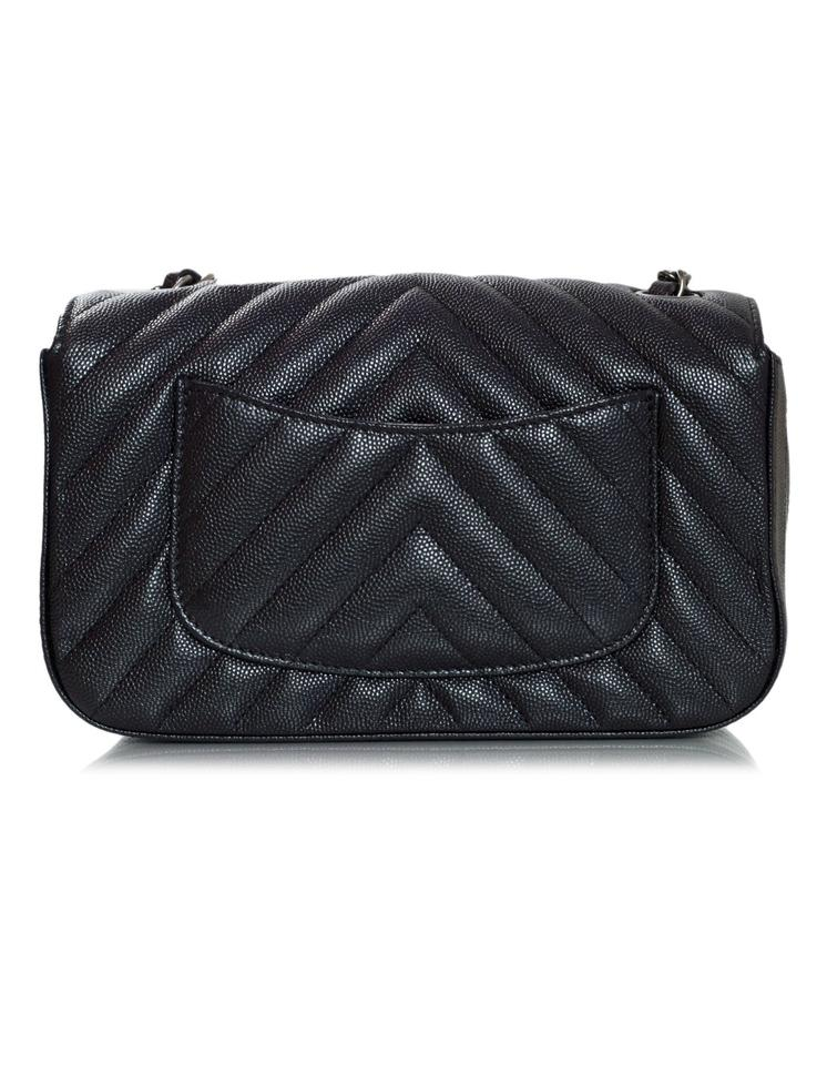6f8eefd45bd23 Chanel Classic Flap Metallic Chevron Rectangle Mini Black Grained ...