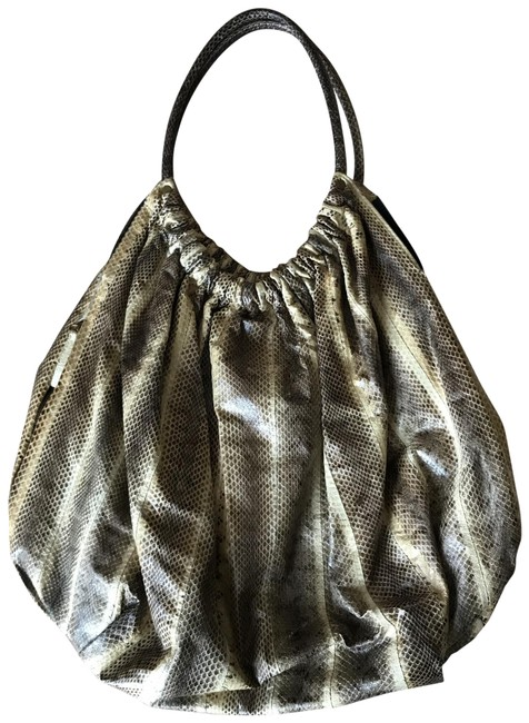 Item - Yellow/Brown Snakeskin Leather Hobo Bag