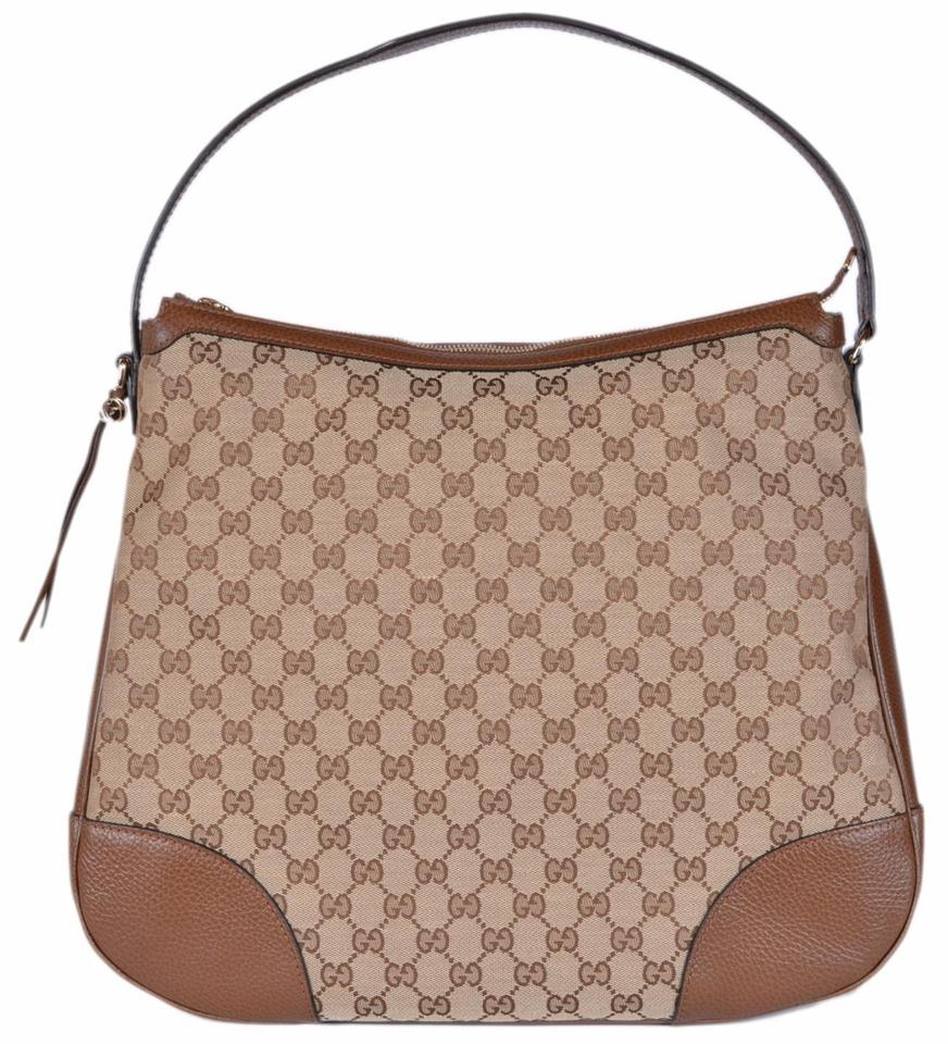 56346cf0ab0 Gucci Bree New 449244 Large Leather Purse Beige Brown Canvas Hobo ...