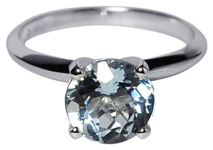 NY Collection Natural Round Aquamarine 4 Prong Solitaire Womens Classic 14K Gold