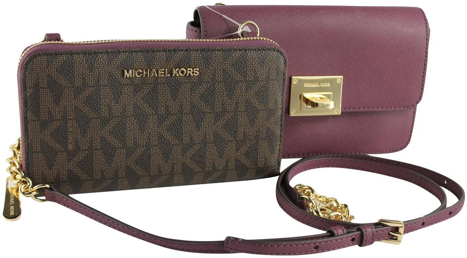 0e6b5921c15d Michael Kors Tina Wallet+bag Clutch 2 In 1 Brown Plum Gold Saffiano  Leather. Signature Pvc Cross Body Bag