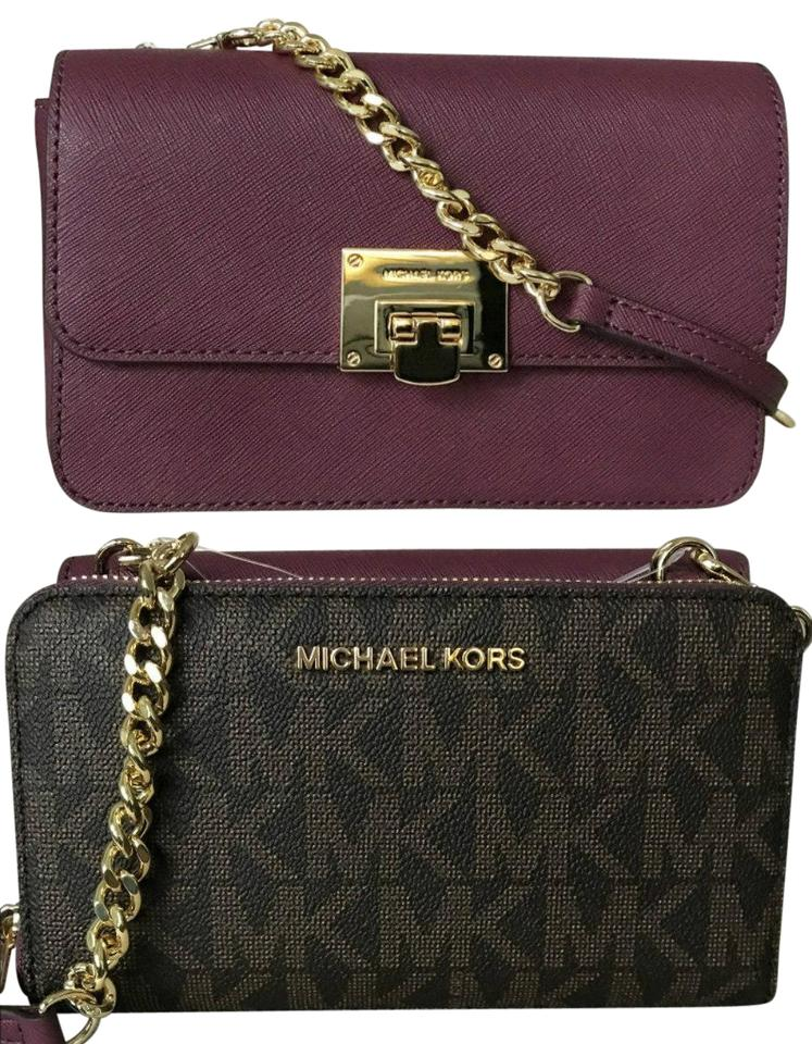 543657ddc914 Michael Kors Tina Wallet+bag Clutch 2 In 1 Brown Plum Gold Saffiano  Leather. Signature Pvc Cross Body Bag - Tradesy