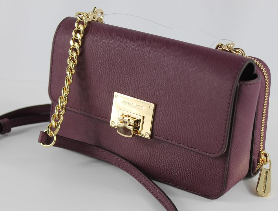 b89b328ca425 Michael Kors Tina Wallet+bag Clutch 2 In 1 Brown Plum Gold Saffiano ...