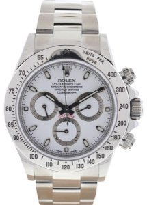Rolex White 116520 Daytona Cosmograph Stainless Steel Watch Tradesy