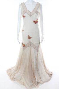 Ivory Silk Butterfly Feminine Wedding Dress Size 12 (L)