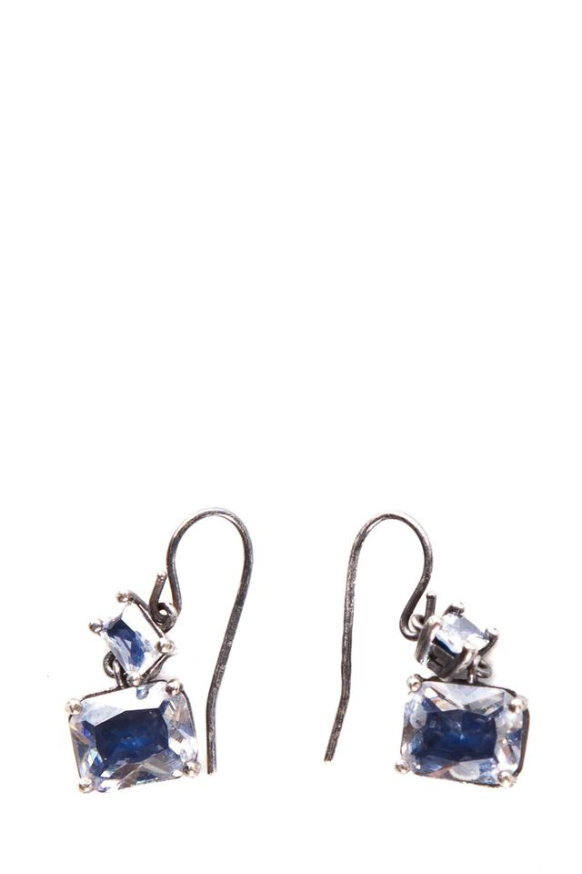 Bottega Veneta Silver Tone Crystal Drop Earrings