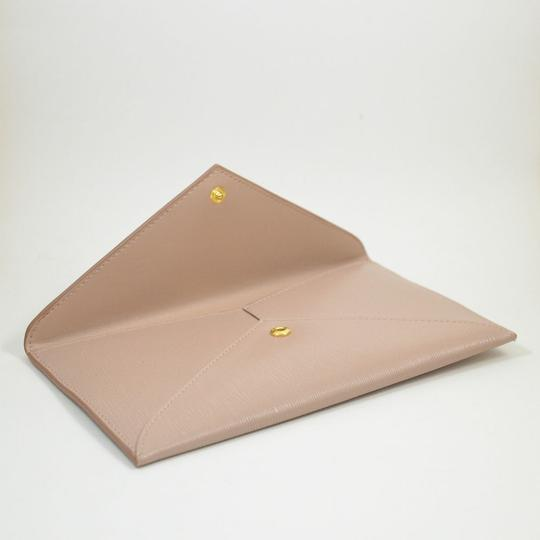 Prada New Envelope Textured Cammeo Calfskin Leather Clutch Tradesy