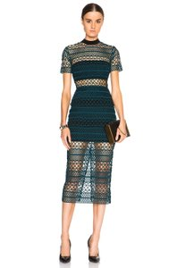 self-portrait Lace Embroidery Turquoise Midi Knit Dress