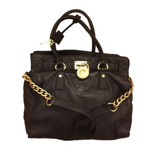 Michael Kors Collection Vintage Chic Gold Hardware Satchel in Black