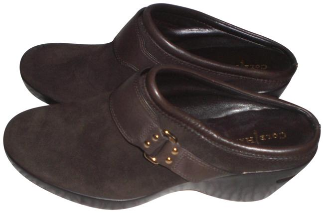 Item - Brown Suede Leather and Gold Metal Mules/Slides Size US 8 Regular (M, B)