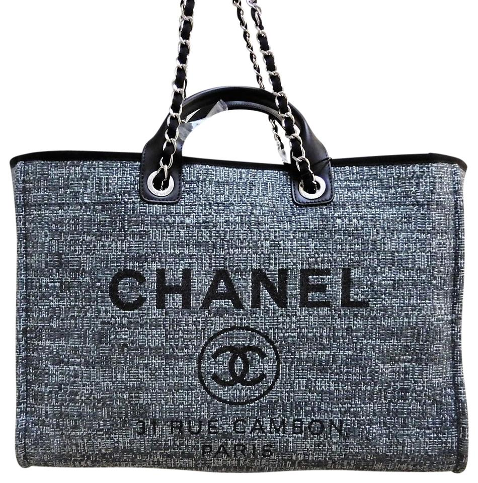 c98a98cf7aefdb Chanel Deauville Grand Large Shopper 2018 Grey Canvas Tote - Tradesy
