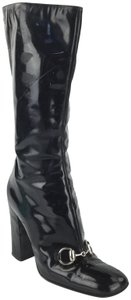 Gucci Horsebit Patent Leather Leather Black Boots