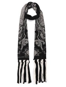 Alexander McQueen NEW! Long Paisley Scarf Black and White Silk Crepe Fringe