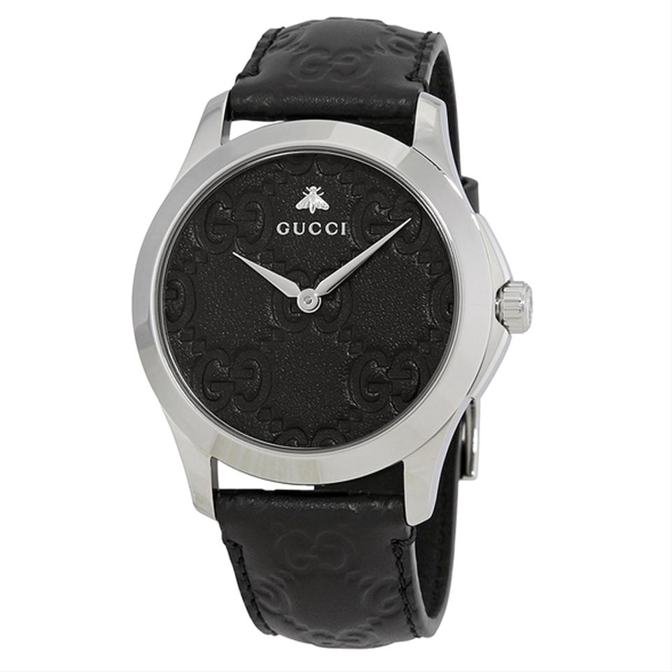 ab2dfa28ae9 Gucci Authentic G-Timeless Black Leather Strap Dial Men Casual Watch Style  Image 0 ...