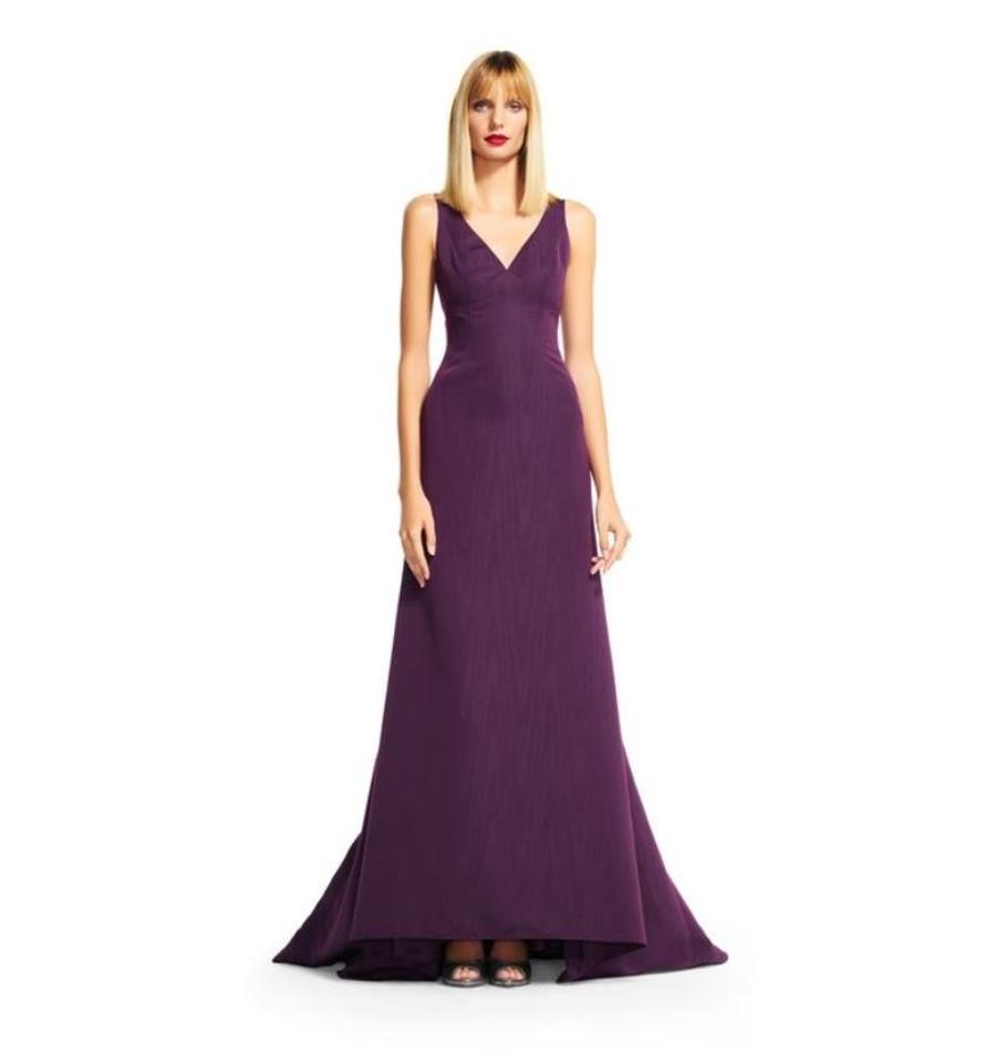 Adrianna Papell Plum V-neck Mermaid Long Formal Dress Size 2 (XS ...