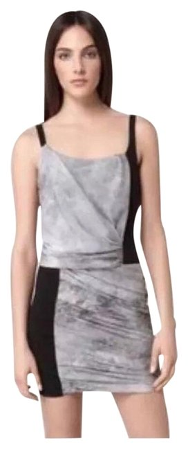 Item - Grey Scale Graphite Print Chiffon & Ponte Knit Short Night Out Dress Size 2 (XS)
