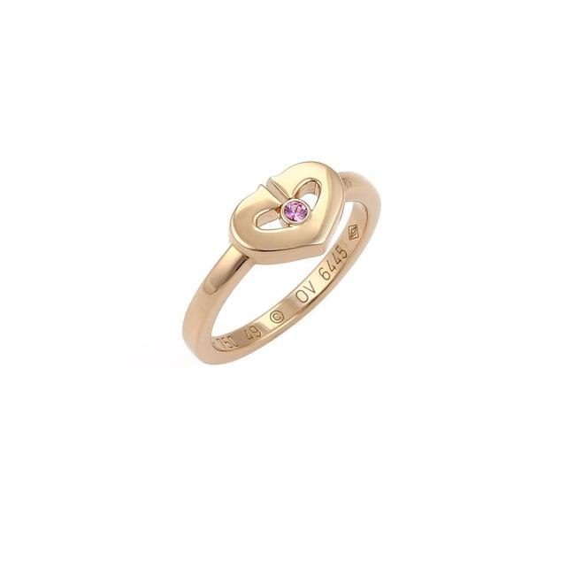 Item - 21799 S/C - Hearts Collection Pink Sapphire 18k Rose Gold Size 49 Ring