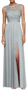 David's Bridal Lace Full Length Grey Petite Dress