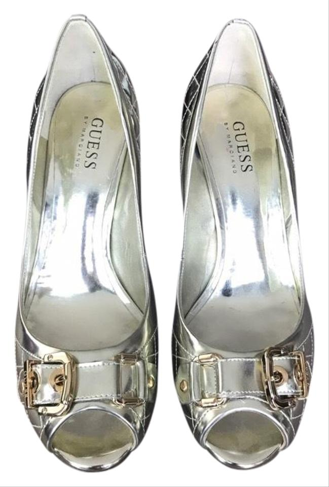 Guess By Marciano Pumps Gold Quilted Buckle Heels Pumps Marciano 17bbfd