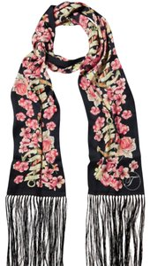 Temperley London Black Floral Long Scarf Silk Made in Italy Anchor Cruise