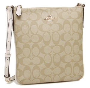 Coach Brown White Filebag Shoulder Brown Cross Body Bag