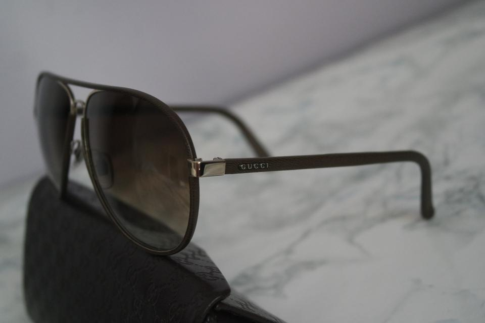42f7741ff71d Gucci Leather Wrapped Aviator Sunglasses