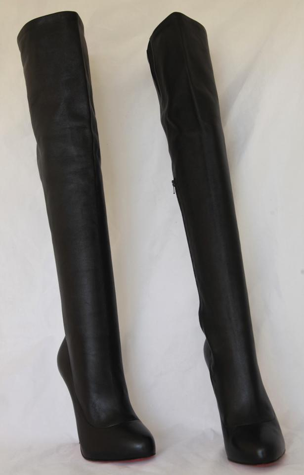 fc547d95844 Christian Louboutin Black Sempre Monica Thigh High Over Knee 120 Heel Lady  Red Sole Leather Ital Boots/Booties Size EU 38 (Approx. US 8) Regular (M,  ...