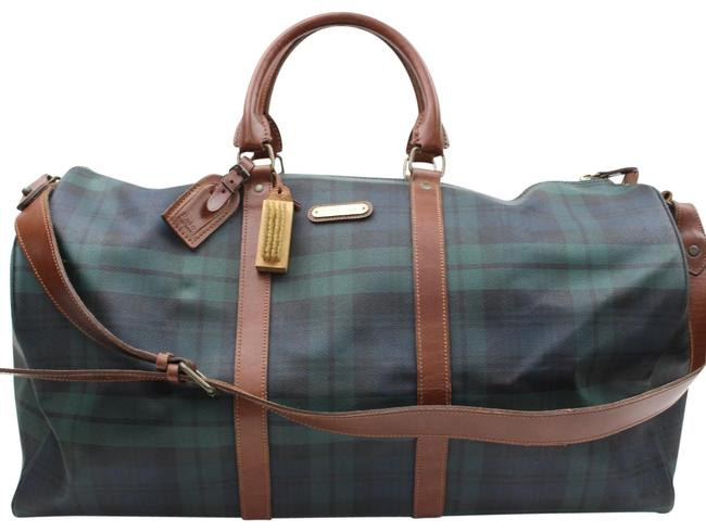 Item - Duffle W Extra Large Plaid Bandouliere W/ Strap 865591 Green Canvas Weekend/Travel Bag
