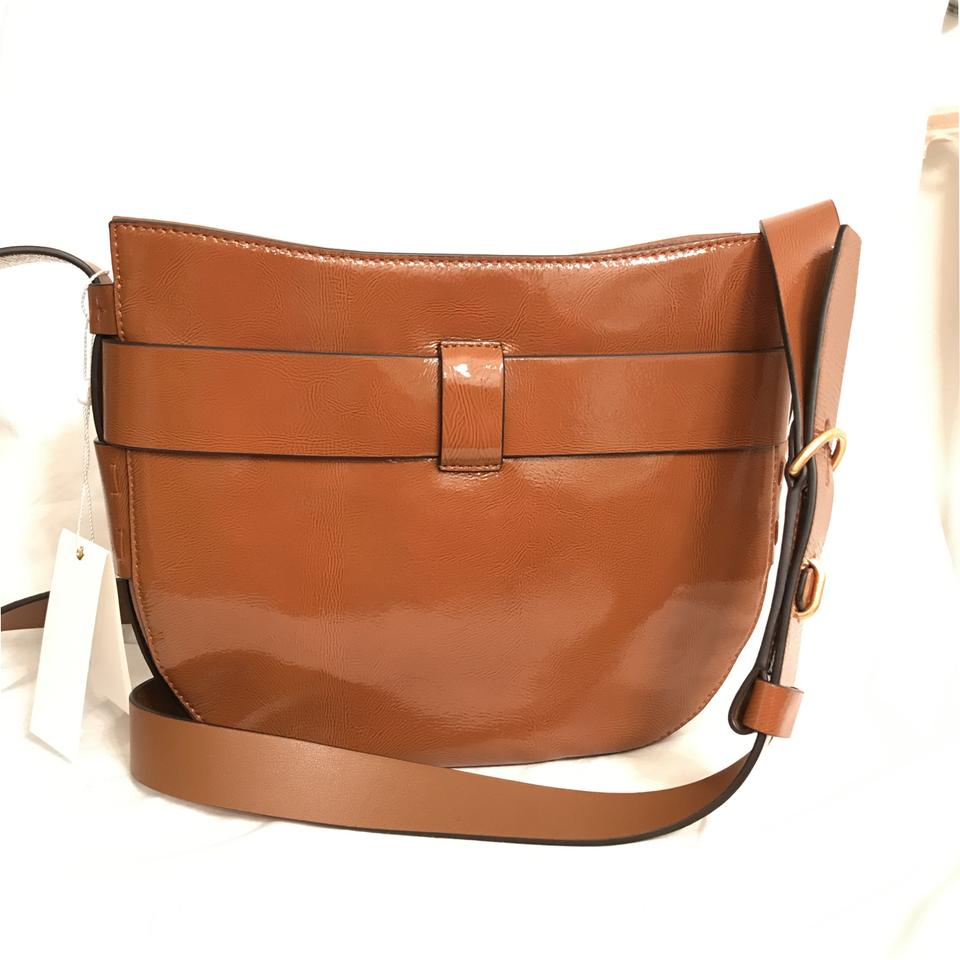 0ffe20fde139 Tory Burch Gemini Link New Saddle Brown Gold Patent Leather Cross Body Bag