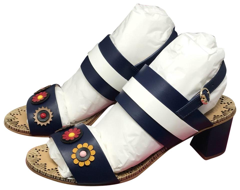 ca9b60e46 Tory Burch Navy Sea White Marguerite 55mm Two Band Sandals Size US 8 ...