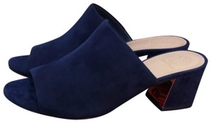 Tory Burch Sandals Leather Navy Sea Mules