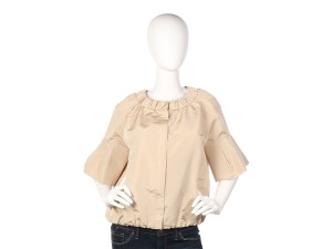 Prada Flared Sleeves Ruching Pr.el1018.07 Blouse Top Beige Jacket