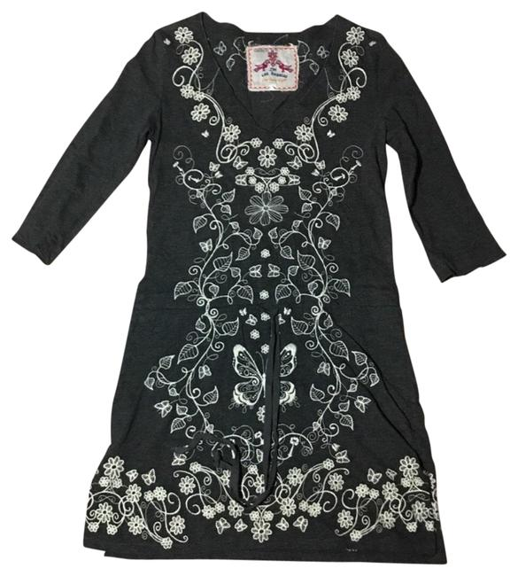 Item - Gray Cotton Knit Embroidered Mid-length Short Casual Dress Size 2 (XS)