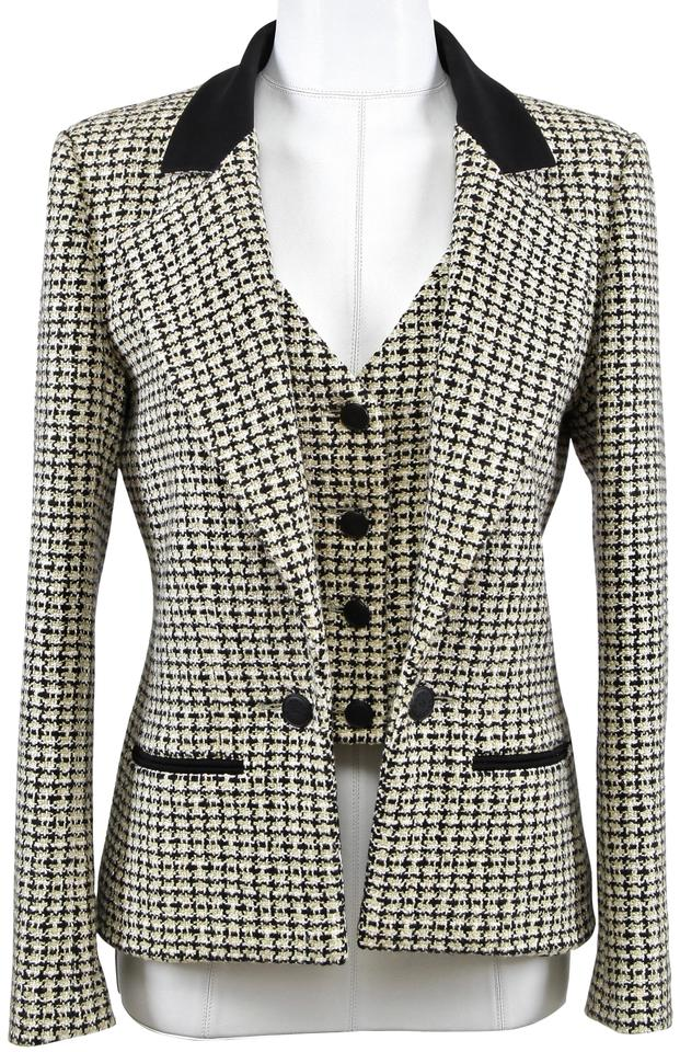 2ca285dec4c6 Chanel Yellow (Chartreuse) Black White Jacket Tweed Classic Dress ...