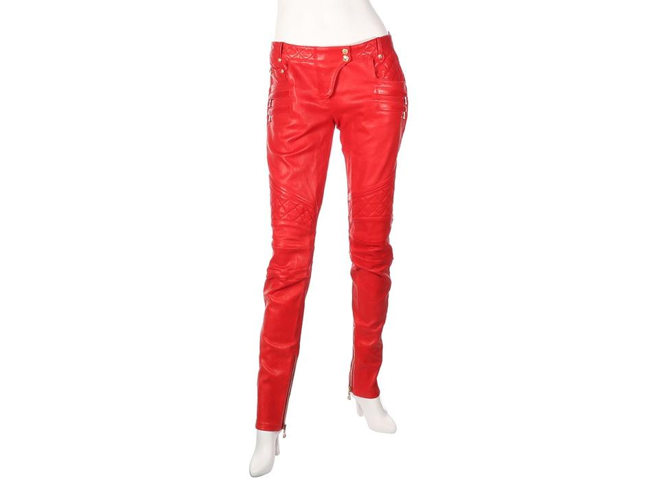 dd444d3a Balmain Trousers Motorcycle Bl.el1018.12 Agneau Straight Pants Red Image 0  ...