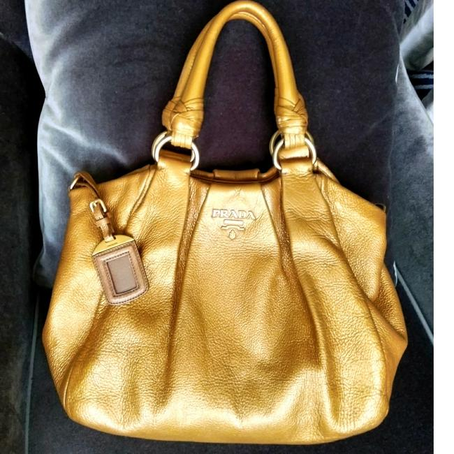Item - Two-way Gold Calfskin Leather Tote