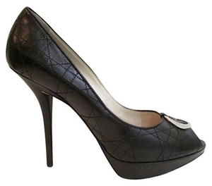 Dior Peep Toe Open Toe Quilted Leather Black Pumps