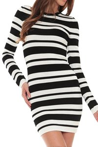 Torn by Ronny Kobo short dress Striped Bodycon Stretchy Longsleeve Textured on Tradesy