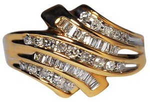 NY Collection Real Baguette Diamond Cocktail Bypass Unique Band Women Solid 10K Gold