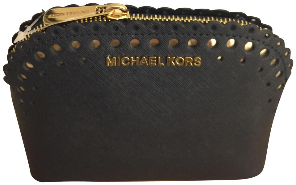 00ad0467038590 Michael Kors Navy Blue Cindy Saffiano Leather Travel Pouch Cosmetic Bag