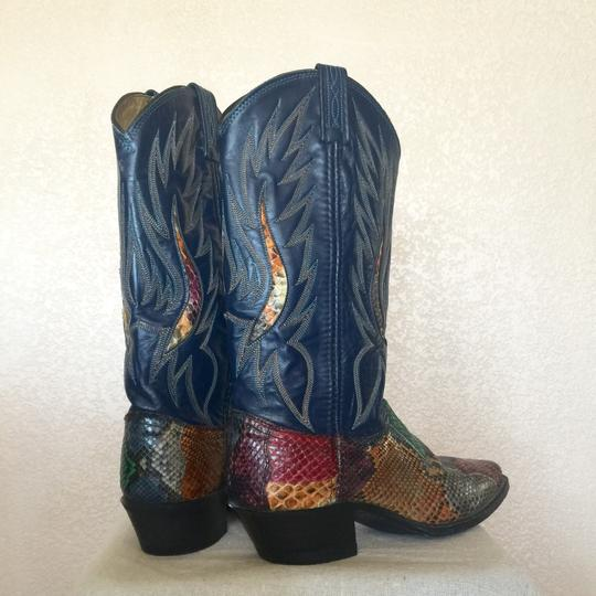 Dan Post Snake Leather Blue Cowboy Size Western Ladies Navy Boots