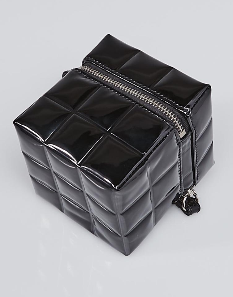479dc1afb10002 Chanel Quilted Rubiks Cube Pouch Black Patent Leather Wristlet - Tradesy