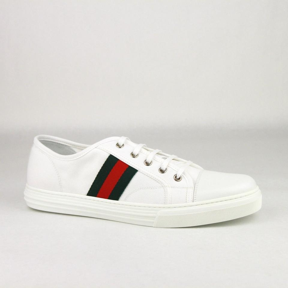 97581468517f Gucci White Canvas Fabric Sneaker W Grg Web Leather Toe 8g 9 295296 9055  Shoes
