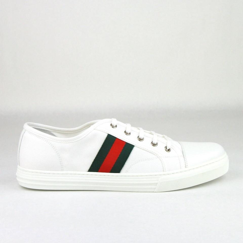 gucci white canvas fabric sneaker w grg web leather toe 8g 9 295296 9055 shoes tradesy. Black Bedroom Furniture Sets. Home Design Ideas
