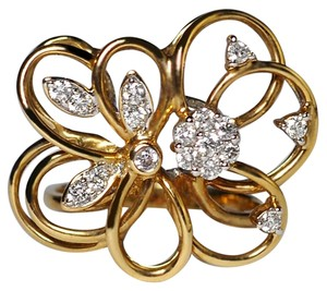 NY Collection Natural Diamond Openwork Filigree Flower Women Unique 14K Gold